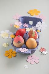 egg carton with easter eggs
