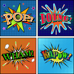 Set of comic sound effects. Pop art style. Vector illustration.