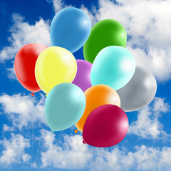 image of many colorful balloons in the sky close-up