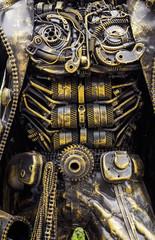 Background metal steel gear robot