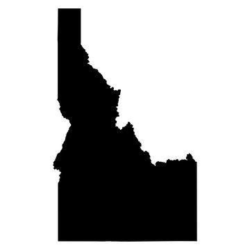 Idaho black map on white background vector