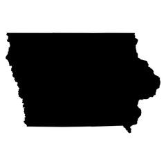 Iowa black map on white background vector