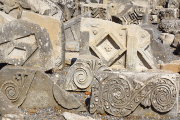 Fragment of a bas-relief in ancient city Ephesus.