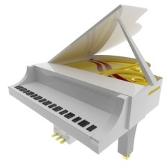 White piano isolated over white