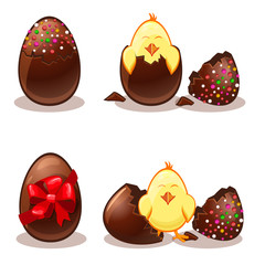 Easter chocolate eggs and chik
