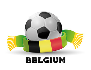 Green scarf with the flag of Belgium and soccer ball