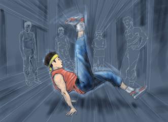 A young man break dances.