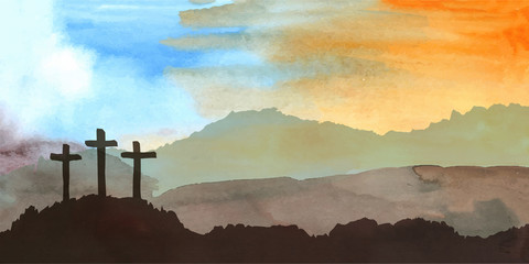 Easter scene with cross. Jesus Christ. Watercolor vector illustration