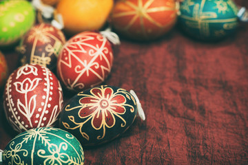 Vintage style photo from decorated Easter eggs with traditional hungarian patterns