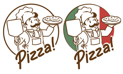 Emblem of funny cook or baker with pizza