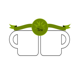 green tea cup and mint isolated on white