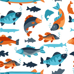 Seamless pattern with various fish. Background made without clipping mask. Easy to use for backdrop, textile, wrapping paper