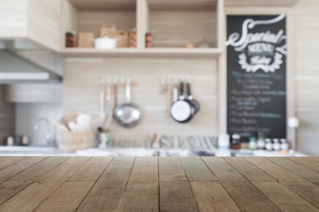 Wood table top with blur kitchen background , empty wooden table
