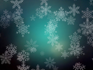Abstract Blur Background with Snowflakes, Free Space for Text