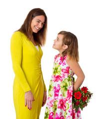 Tochter / Kind überrascht Mama zu Muttertag