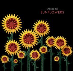 Origami sunflowers field