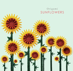 Origami sunflowers field