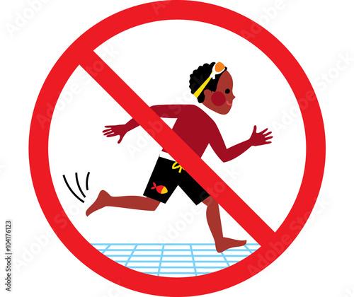 "No Running Sign In Water ""No running swimm..."