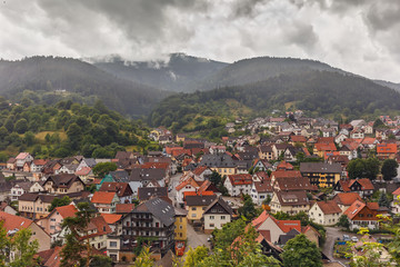Beautiful panoramic view of the mountain village Forbach..Germany.Schwarzwald.