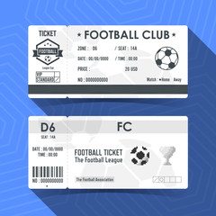 Football, Soccer Ticket Design. Vector illustration.