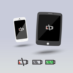 empty tablets and smartphone icon - vector