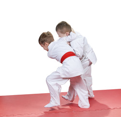 In kindergarten, the children are trained judo techniques