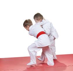 In kindergarten, the children are trained judo techniques