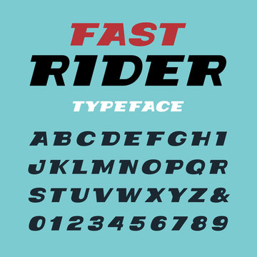 Wide italic font. Vector alphabet with latin letters and numbers