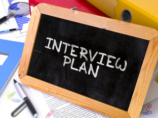 Interview Plan Concept Hand Drawn on Chalkboard on Working Table Background. Blurred Background. Toned Image. 3D Render.