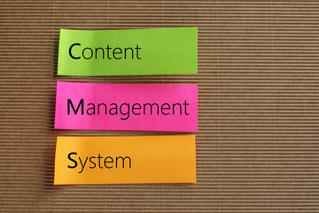 Content Management System text on colorful sticky notes