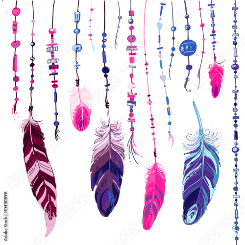 Set Of Ornaments Feathers And Beads Native American Indian Dream