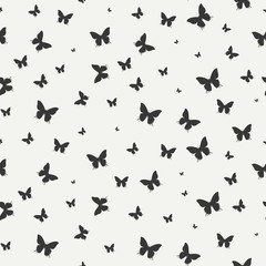 Monochrome abstract seamless pattern with butterfly. Wrapping paper. Scrapbook. Tiling. Vector illustration. Background. Graphic texture for your design, wallpaper.