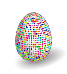 White Single Vector Easter Egg with Abstract Colorful Pattern - Beautiful Close Up Design with Smooth Shadow on the Ground.