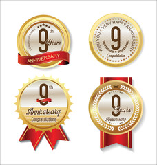 Anniversary Retro vintage golden labels collection 9 years