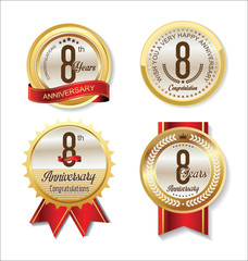Anniversary Retro vintage golden labels collection 8 years