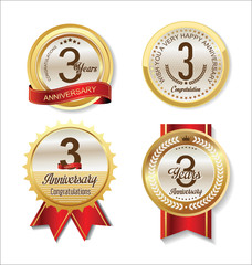 Anniversary Retro vintage golden labels collection 3  years
