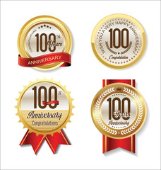 Anniversary Retro vintage golden labels collection 100 years