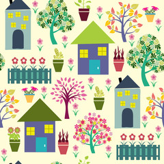 Houses and different plants illustration.