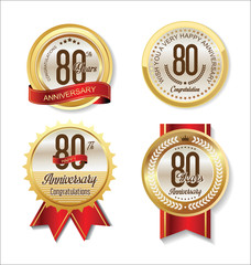 Anniversary Retro vintage golden labels collection 80 years