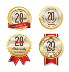 Anniversary Retro vintage golden labels collection 20 years