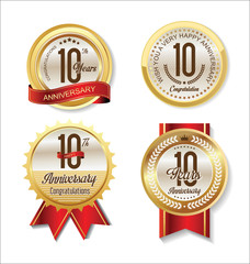 Anniversary Retro vintage golden labels collection 10 years