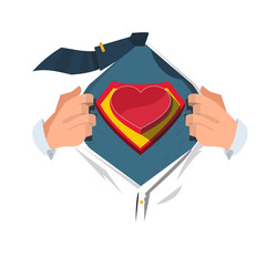 super hero with heart - vector
