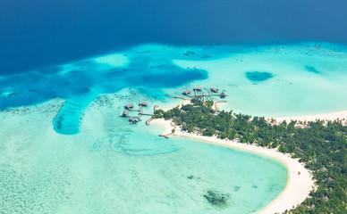 Aerial view on Maldives island, Raa atol