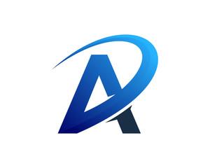Letter A Swoosh Back Logo Design Element