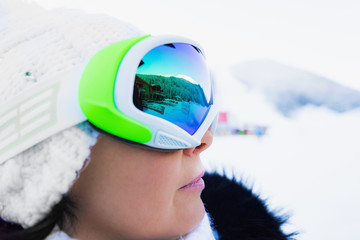 woman in ski goggles