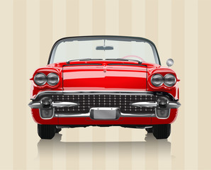 Very realistic vector illustration of a vintage car - front view in retro colours