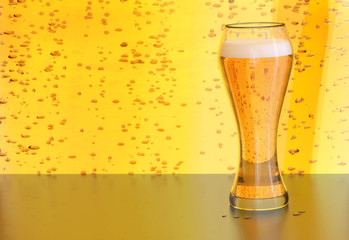 beer, blonde lager in a draft glass on yellow background with bubbles on a bar or restaurant during party