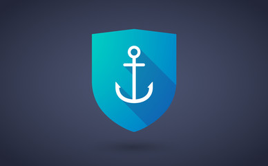 Long shadow shield icon with  an anchor