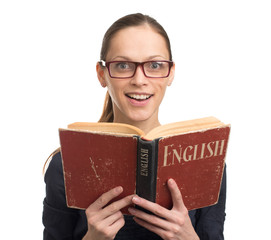 Nerd woman reading an English book