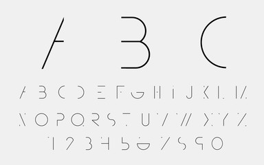 Black alphabetic fonts and numbers. Vector illustration.